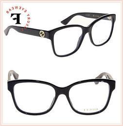 GUCCI 0038 Black Gold Logo Optical Eyeglasses GG0038O 56mm A