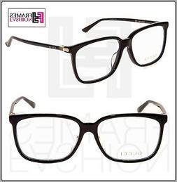 GUCCI 0295 Black Gold Square RX Eyeglasses Optical Frame 58m