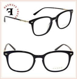 GUCCI 0390 Black Gold Clubmaster Classic Men Eyeglasses 52mm