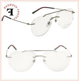 GUCCI 0398 Metal Silver Aviator Rimless Unisex Eyeglasses 58