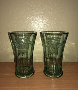 2 libbey green flared glass tumbler 16
