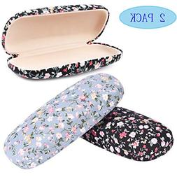 2 Pack Durable Floral Small Eyeglass Case Hard Protective Ey