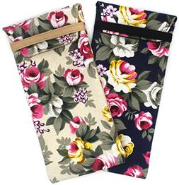 2 PACK Soft Cloth Slip In Lady Floral Eyeglass and Sunglasse