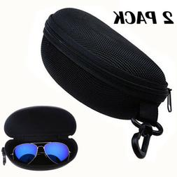 2X Black Zipper Eye Glasses Sunglasses Hard Case Portable Pr