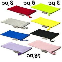 3 Black Microfiber Pouch Bag Soft Cleaning Case Sunglasses E