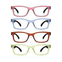 TIJN 4 Packs Screwless Comfort Reading Glasses Fashion Reade