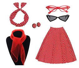 50's Costume Accessories Set Girl Vintage Dot Skirt Scarf He