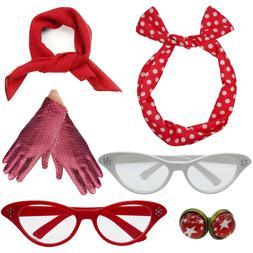 6Pcs 50's Costume Accessories Set Polka Dot Headband Chiffon