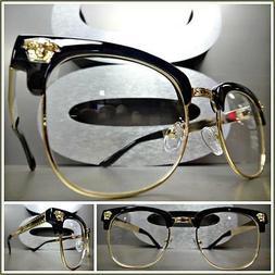 Men Women VINTAGE RETRO Style Clear Lens EYE GLASSES Black &
