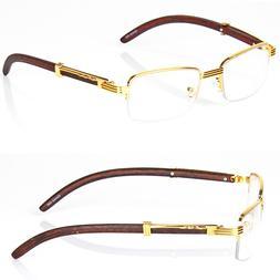 Retro Vintage Clear Lens Gold Wood Frame Fashion Eye Glasses