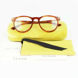 New Authentic Gucci GG0027O 003 Light Havana Plastic Round E