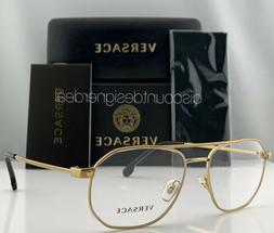 Versace Aviator Eyeglasses VE1252 1428 Gold Metal Frame Clea