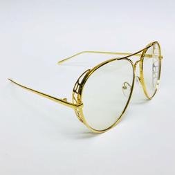 a3d2b7b396 Aviator Fashion Oversized Designer Clear Lens Gold Metal Fra
