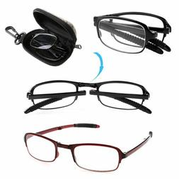 Bifocal Folding Eyeglasses Reading Glasses Eyewear with Case