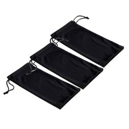 Black Microfiber Pouch Bag Soft Cleaning Case Sunglasses Eye