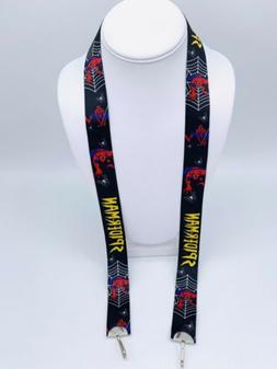 Black Spider Man face mask lanyard chain Mask holder