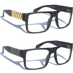 Bold Frame Clear Lens Eye Glasses Mens Chain Link Side Desig