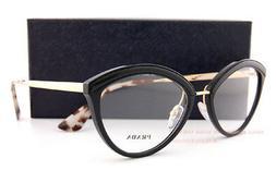 Brand New Prada Eyeglasses Frames 14U 14UV KUI Black/Gold SZ