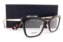 Brand New Prada Eyeglasses Frames 15U 15UV KUI Black/Gold SZ
