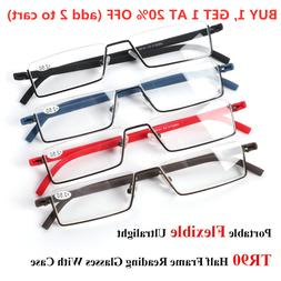 Case TR90 Portable Half Frame Semi Rimless Reader Eyeglasses
