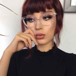 Cat Eye Clear Lens Retro Eyeglasses Transparent and Solid Fr