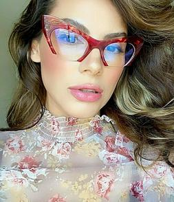 "Cat Eye  ""RAZOR""  Women Eyeglasses Cut Off Lens Semi Rimless"