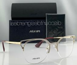 Prada Cateye Eyeglasses VPR 64U White Front Frame Gold Templ