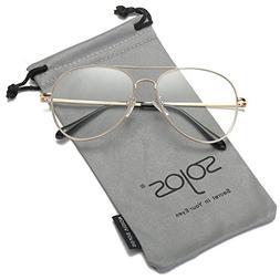 41725aac0355 SOJOS Classic Aviator Clear Lens Eyeglasses Eyewear Metal Fr