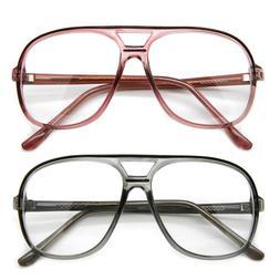 Clear Lens Aviator Eyeglasses Flat Top Retro Frame Men Women