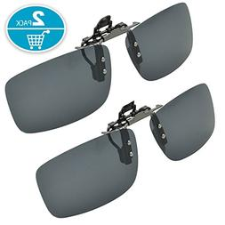 Clip-on Sunglasses, Splaks Unisex Polarized Frameless Rectan