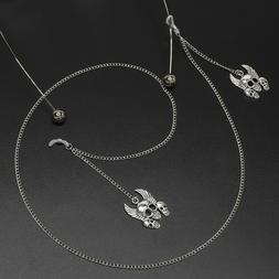Cool Men's Skull Glasses Chain Strap Spectacle Eyeglasses Su