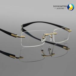 Designer Men's Rimless Flexible Myopia Eyeglasses Frames Opt