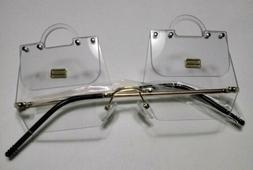 Designer Women's Handbag Eyeglasses - Clear Lense - Gold Fra