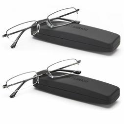 DOUBLE TAKE -Metal Frame Half Rim Reading Glasses | Readers