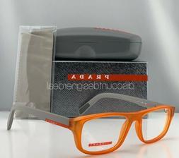 Prada Sport Eyeglasses VPS 06G Orange Frame Gray Temples UFL