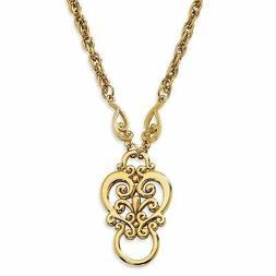 "Fancy Scroll Eyeglass Holder 28"" Gold Tone Necklace 1928 Bou"
