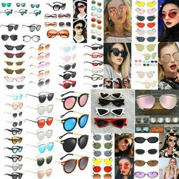 Fashion Women's Geometric Mirror Flat Lens Sunglasses Retro