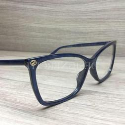 Gucci GG0025O 0025O Eyeglasses Blue Marble 005 Authentic 56m