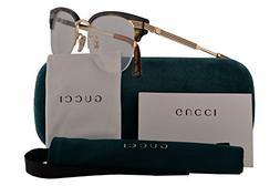Gucci GG0201O Eyeglasses 50-18-140 Havana Gold w/Demo Clear