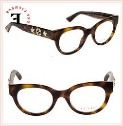 Gucci GG0209O 002 Women Optical Eyeglasses Havana Brown Gold
