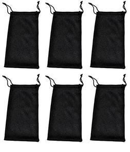 Glasses Pouches Cleaning Case Bag Black 6 PCS
