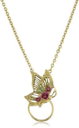 1928 Jewelry Gold Green Amethyst Enamel Butterfly Eyeglass H