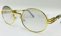 Gold Metal Oval Frame Designer Clear Lens Men Women Migos Ey