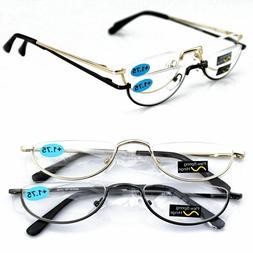 Half Moon Mens Women Vintage Spring Hinge Eyeglasses Reading