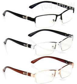 Half Rim Men Women  Eyewear Clear Lens Frame Eye Glasses Des