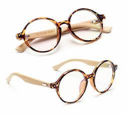 Agstum Handmade Bamboo Vintage Round Glasses Frame Optical E