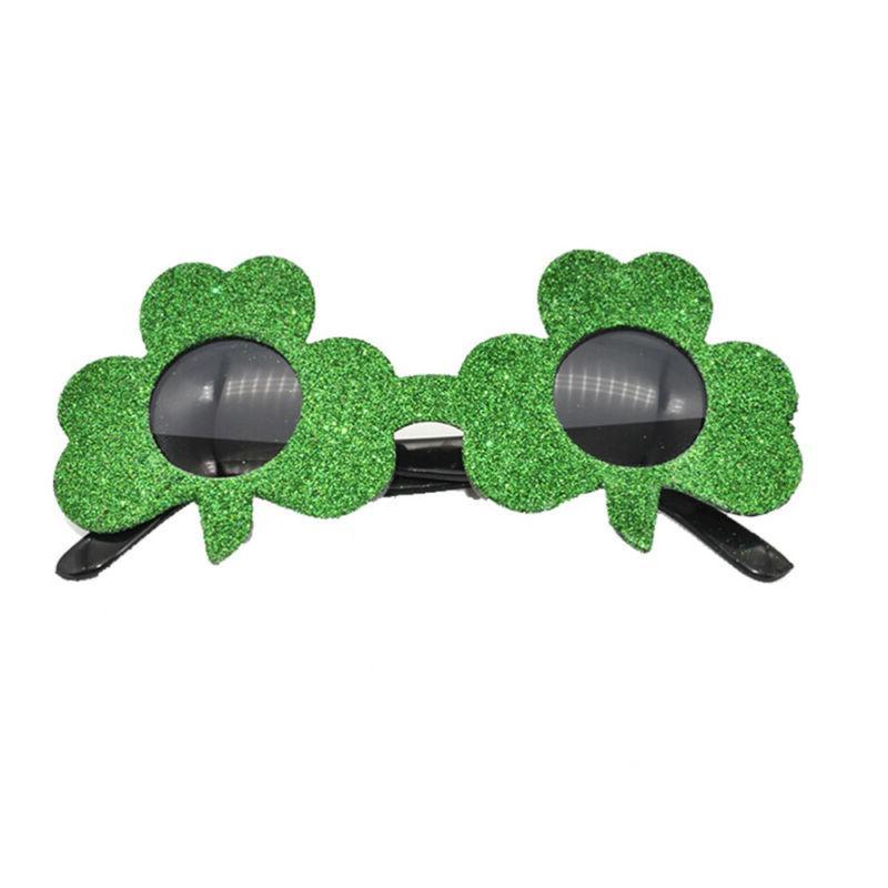 1pc creative glitter shamrock green eye glasses