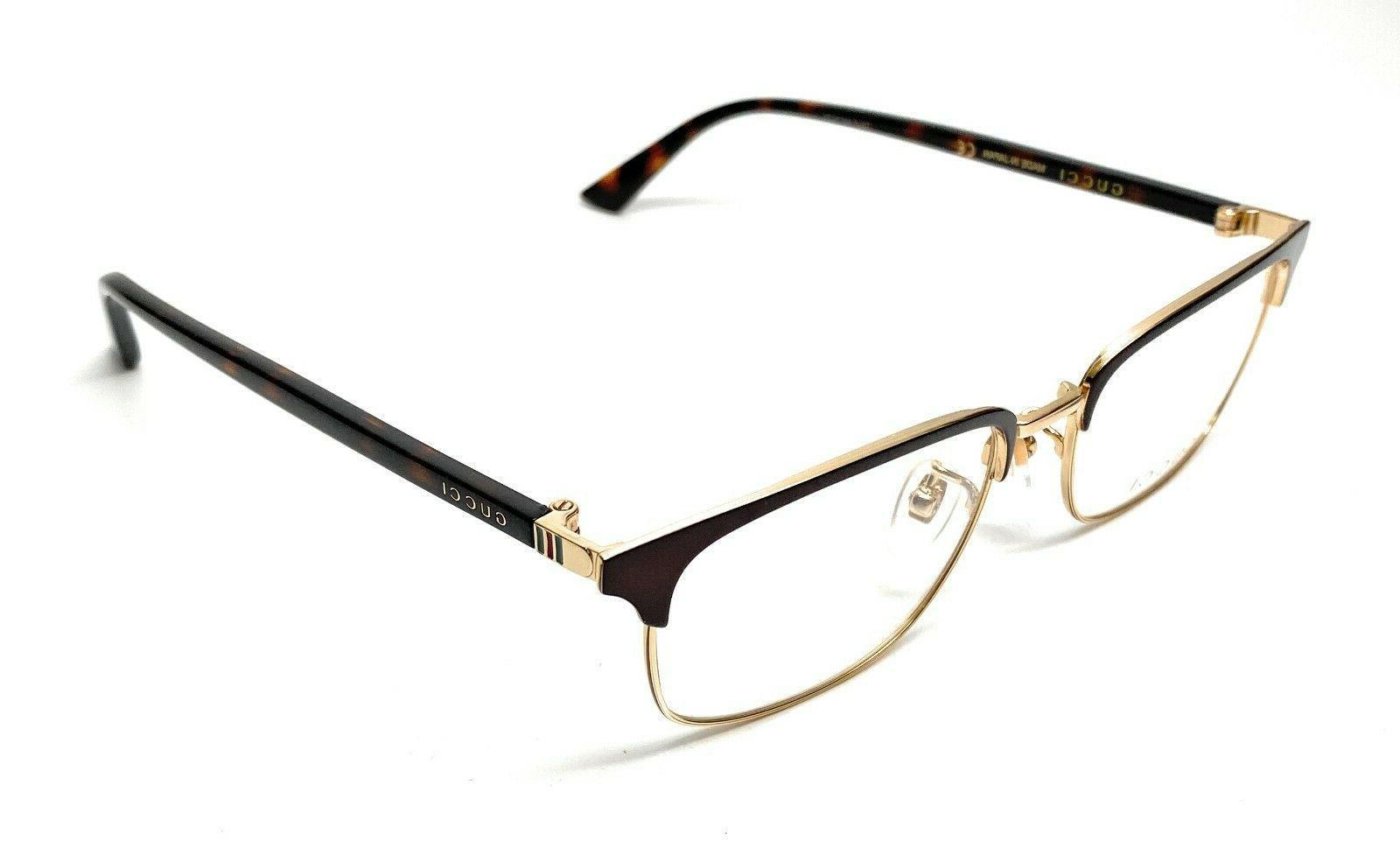 Gucci Eyeglasses GG0131O GG/0131/O 002 Brown/Havana/Gold Opt
