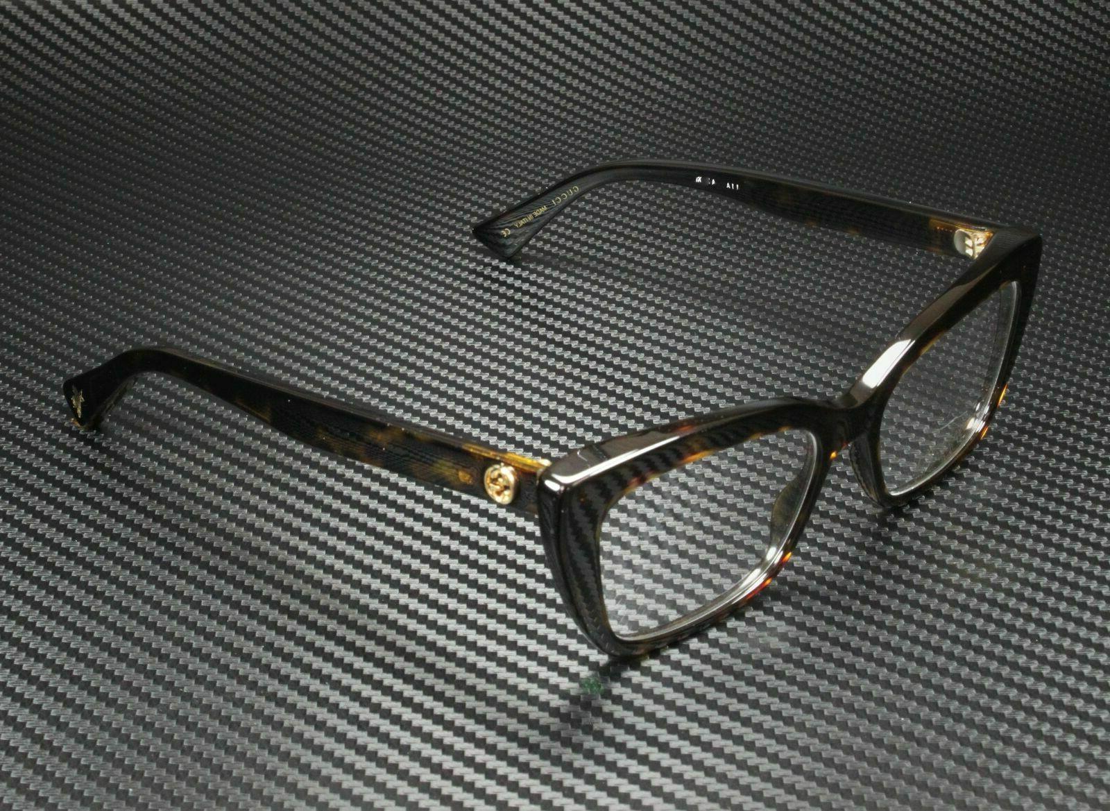 Gucci GG0165O 002 Eyeglasses Dark Havana Brown Cat Eye Rx Fr