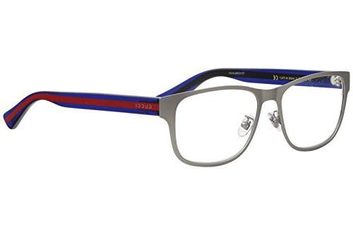 Gucci Men's Eyeglasses GG0007O GG/0007/O 003 Ruthenium/Blue